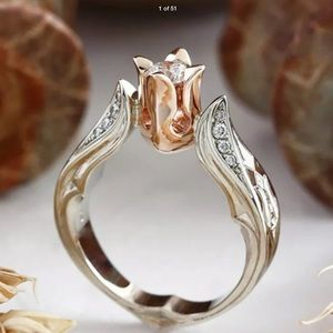 New Beautiful 18k gold over silver ring